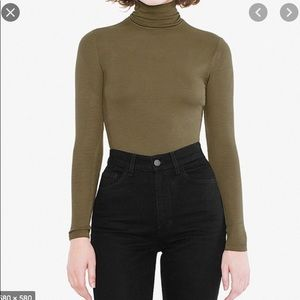 American Apparel olive turtleneck bodysuit ✨